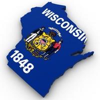 Wisconsin Political Map 3D Model