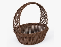 Wicker Basket 04 Brown Color 3D Model