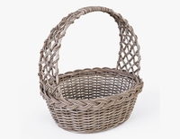 Wicker Basket 04 Gray Color 3D Model