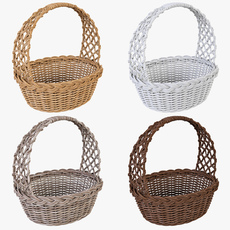 Wicker Basket 04 Set 4 Color 3D Model