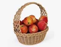 Wicker Basket 04 Natural Color with Apples 3D Model