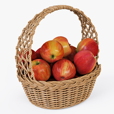 Wicker Basket 04 Natural Color with Apples 3D Model
