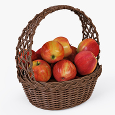 Wicker Basket 04 Brown Color with Apples 3D Model