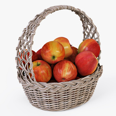 Wicker Basket 04 Gray Color with Apples 3D Model