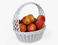 Wicker Basket 04 White Color with Apples 3D Model