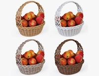 Wicker Basket 04 Set 4 Color with Apples 3D Model