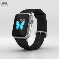 Apple Watch 38mm Stainless Steel Case Black Classic Buckle 3D Model