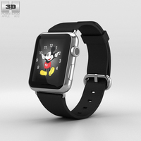 Apple Watch 42mm Stainless Steel Case Black Classic Buckle 3D Model