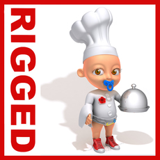 Chef baby Cartoon Rigged 3D Model