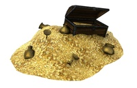 Treasure with mountain of coins 3D Model