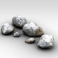 Detailed snowy rocks 3D Model