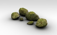Detailed mossy rocks 3D Model