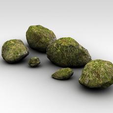 Detailed mossy rocks 3D Model