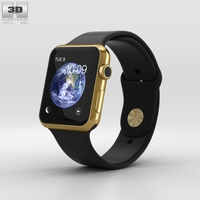 Apple Watch Edition 42mm Yellow Gold Case Black Sport Band 3D Model