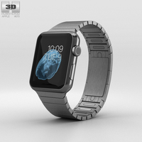 Apple Watch 42mm Black Stainless Steel Case Link Bracelet 3D Model