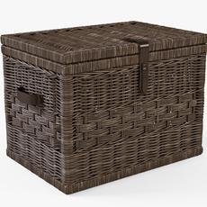 Wicker Storage Trunk 05 Walnut Brown Color 3D Model