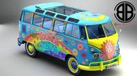 Volkswagen Type 2 Samba 1963 Hippie 3D Model