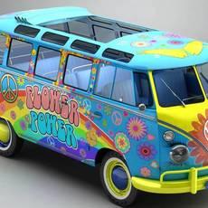 Volkswagen Type 2 Samba 1963 Hippie 3D Model