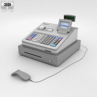 Cash Register Gray 3D Model