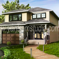 Modern home 3d exterior design cover