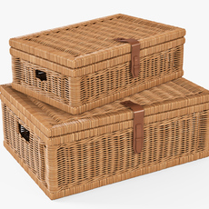 Wicker Basket 06 Toasted Oat Color 3D Model