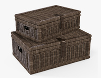 Wicker Basket 06 Walnut Brown Color 3D Model