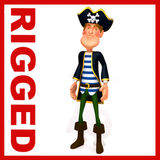 Pirate man Cartoon Rigged 3D Model