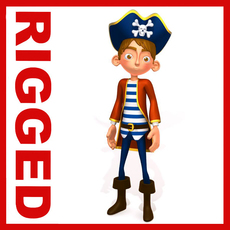 Pirate boy Cartoon Rigged 3D Model