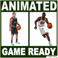 2 Basketball Players Low Poly 3D Model