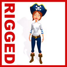 Pirate woman Cartoon Rigged 3D Model