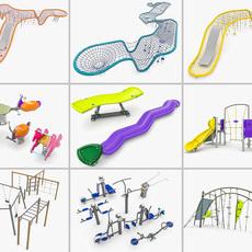 Kompan Playground Equipment Set 3D Model
