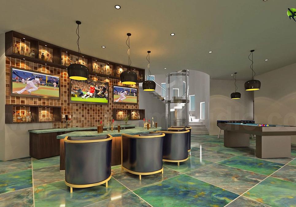 3d interior bar design in modern bunglow show