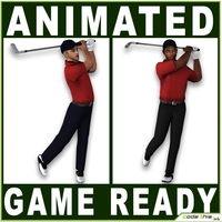 Golfers Low Poly 3D Model