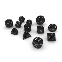 Polyhedral Dice Set - Black 3D Model