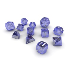 Polyhedral Dice Set - Blue Glass 3D Model
