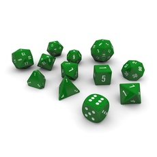Polyhedral Dice Set - Green 3D Model