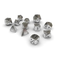 Polyhedral Dice Set - Metallic 3D Model