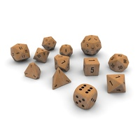 Polyhedral Dice Set - Wood 3D Model