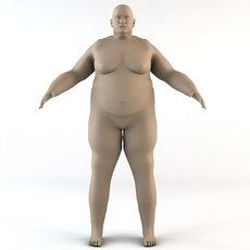 Overweight Caucasian Male Human Character 3D Model