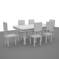 classic table and chair 3D Model
