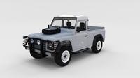 Full Land Rover Defender 90 Pick Up Seethrough 3D Model