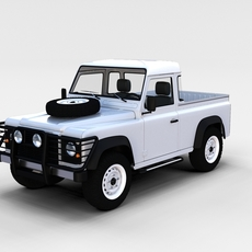 Land Rover Defender 90 Pick Up w interior rev 3D Model