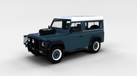 Land Rover Defender 90 Station Wagon w interior rev 3D Model