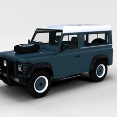 Land Rover Defender 90 Station Wagon w interior rev 3D Model