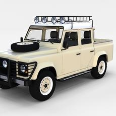 Land Rover Defender 110 Double Cab Pick Up w interior rev 3D Model