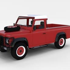 Land Rover Defender 110 Pick Up w interior rev 3D Model