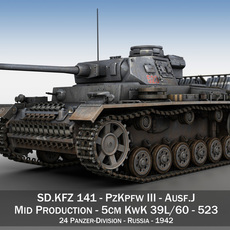 SD.KFZ 141 PzKpfw 3 - Panzer 3 Ausf J 3D Model
