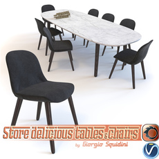 Poliform Mad dinning Chair & Table 3D Model
