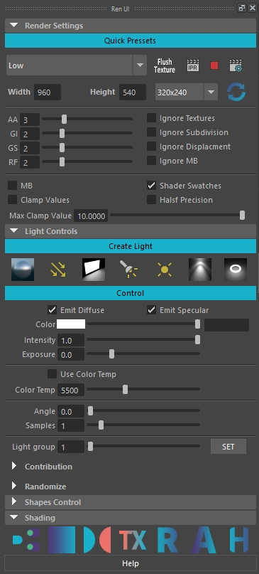 RenUi tool for Arnold renderer for Maya