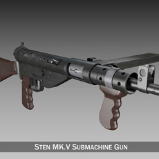 Sten MK.V Submachine Gun 3D Model
